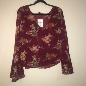 Sheer Floral Chiffon Top w/ Bell Sleeves